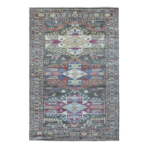 Charcoal Gray with Anatolian Design Angora Oushak Pure Wool Hand Knotted Oriental Rug