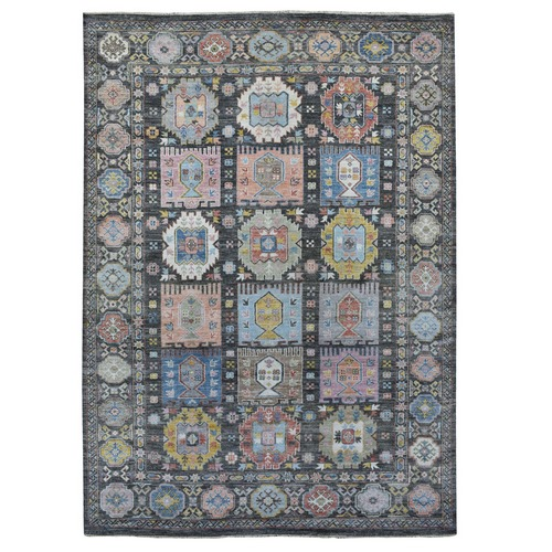 Colorful Anatolian and Tribal Design Pure Wool Angora Oushak Hand Knotted Oriental Rug