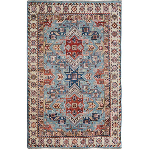 Blue Special Kazak Tribal Design Pure Wool Hand Knotted Oriental
