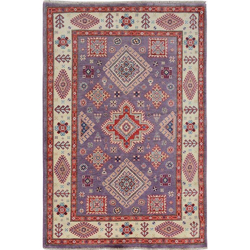 Purple Special Kazak Geometric Design Pure Wool Hand Knotted Oriental