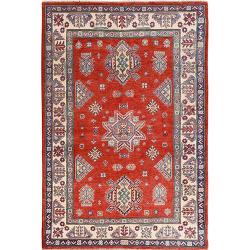 Red Special Kazak Geometric Design Pure Wool Hand Knotted Oriental