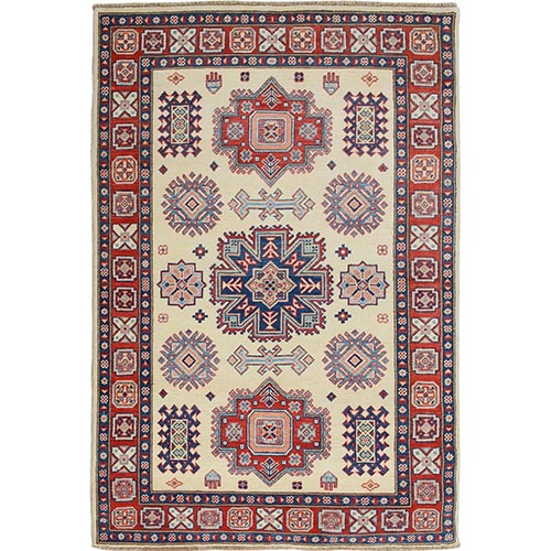 Ivory Special Kazak Tribal Design Pure Wool Hand Knotted Oriental