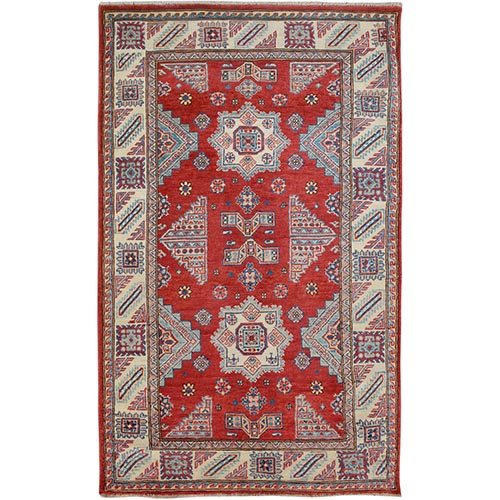 Red Special Kazak Tribal Design Pure Wool Hand Knotted Oriental