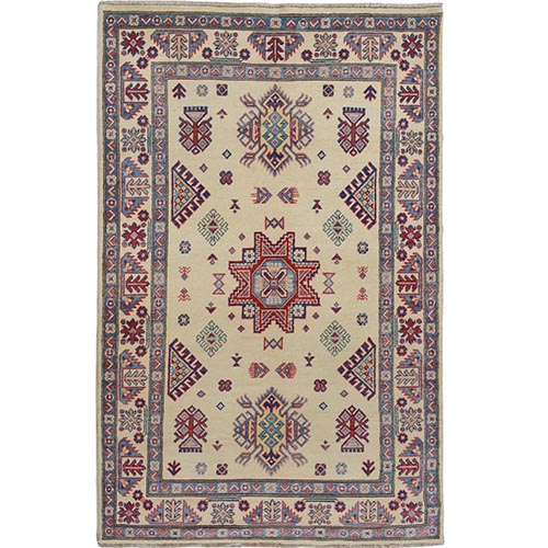 Ivory Special Kazak Geometric Design Pure Wool Hand Knotted Oriental