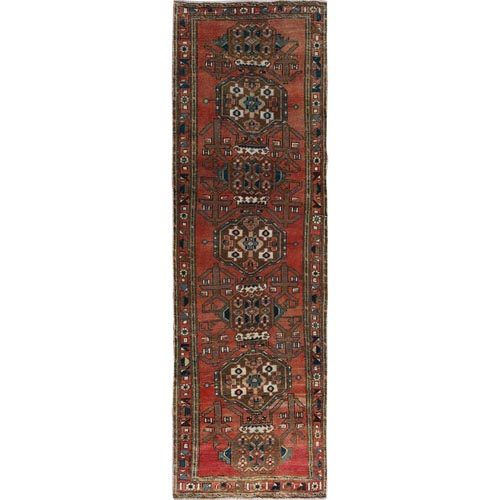 Red Vintage and Worn Down Persian Heriz Hand Knotted Runner Oriental