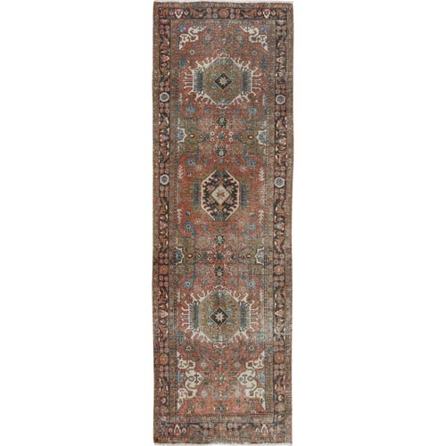 Earth Tones Colors Old And Worn Down Persian Heriz Hand Knotted Runner Oriental