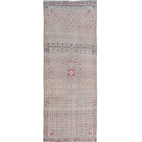 Natural Colors Vintage And Worn Down Wide Runner Persian Birjand Hand Knotted Bohemian