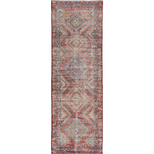 Colorful Worn Down And Vintage Persian Heriz Hand Knotted Runner Oriental