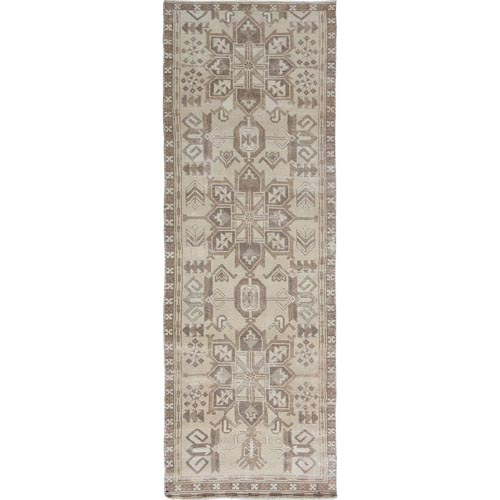 Natural Colors Old And Worn Down Persian Heriz Hand Knotted Runner Oriental