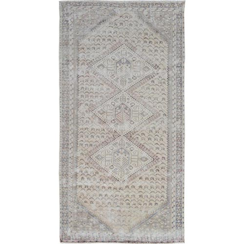 Natural Color Vintage And Worn Down Shiraz Runner Pure Wool Hand Knotted Oriental