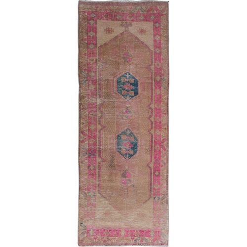 Rose Vintage And Worn Down Persian Serab  Runner Hand Knotted Oriental