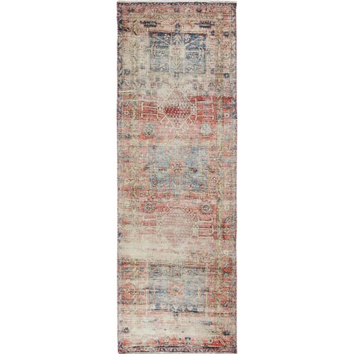 Coral Vintage And Worn Down Persian Heriz Hand Knotted Runner Oriental
