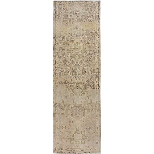 Natural Colors Vintage And Worn Down Persian Karajeh Hand Knotted Runner Oriental