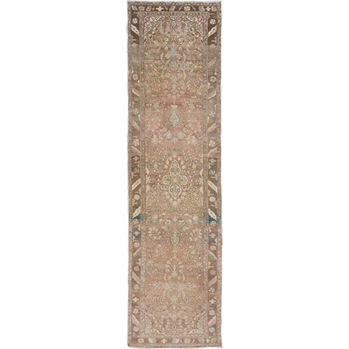 Earth Tones Old And Worn Down Persian Lilihan Hand Knotted Runner Oriental