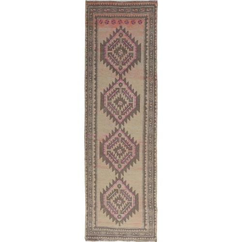 Beige Wide Runner Worn Down Vintage Persian Mazlagan Hand Knotted Oriental