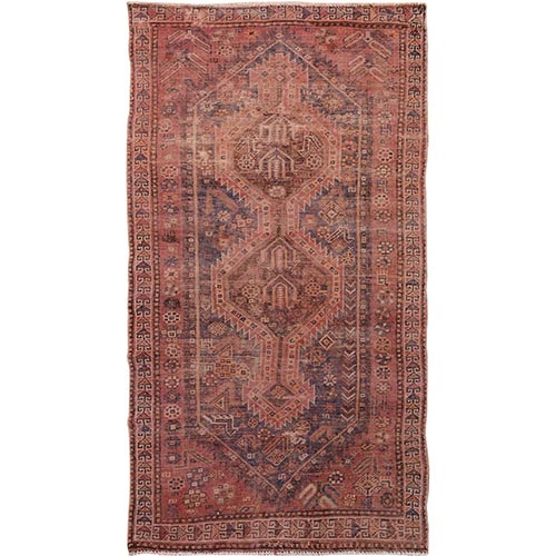 Washed Out Old And Worn Down Persian Shiraz Pure Wool Hand Knotted