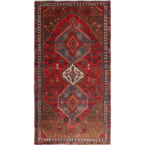 Red Vintage And Worn Down Persian Afshar Wide Runner Pure Wool Hand Knotted Oriental