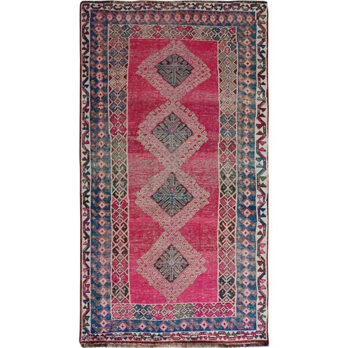 Colorful Vintage And Worn Down Persian Shiraz Pure Wool Oriental