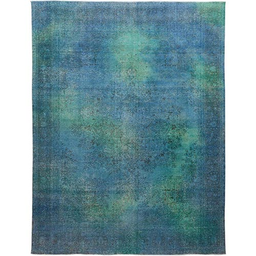 Blue With Touch Of Green Overdyed And Worn Down Persian Tabriz Hand Knotted