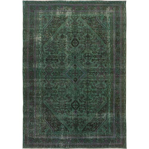 Green Overdyed Vintage and Worn Down Persian Hamadan Hand Knotted Pure Wool Oriental