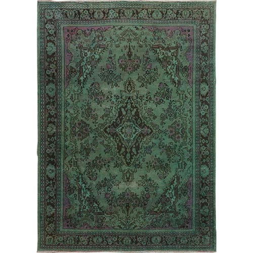 Green Overdyed Vintage Bibikabad Persian Worn Down Hand Knotted Oriental