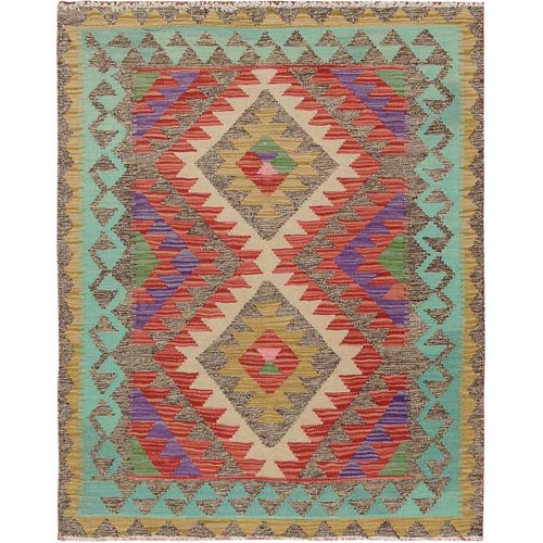 Colorful Afghan Reversible Kilim 100% Wool Hand Woven Square Oriental