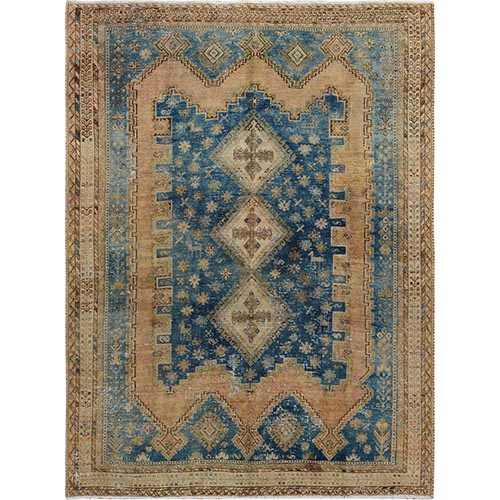 Distressed Colors Vintage Persian Shiraz Clean Worn Down Pure Wool Hand Knotted Oriental