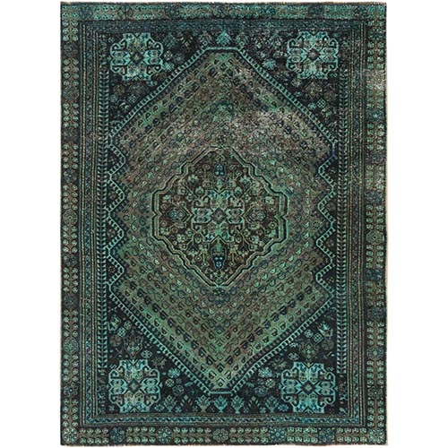 Green Overdyed Persian Shiraz Worn Down Hand Knotted Clean Oriental