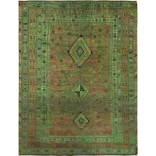 Overdyed Green Persian Shiraz Worn Down Hand Knotted Oriental