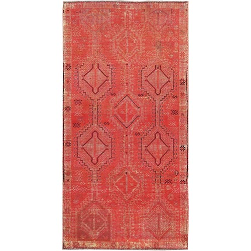 Overdyed Persian Shiraz Wide Runner Worn Wool Clean Hand Knotted Oriental