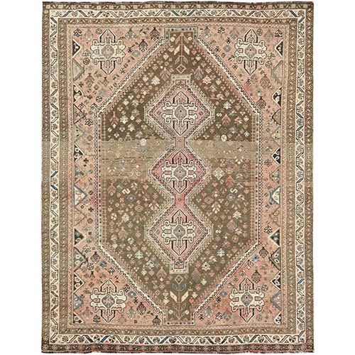 Large Worn Down Vintage Persian Shiraz with Abrash Geometric Design Hand Knotted Oriental