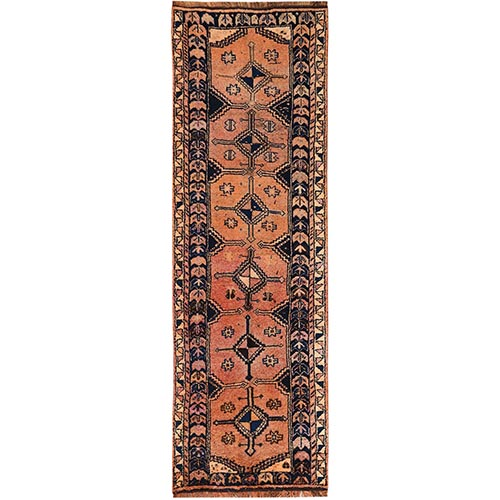Vintage Persian Shiraz Worn Down Terracotta Wide Runner Hand Knotted Oriental