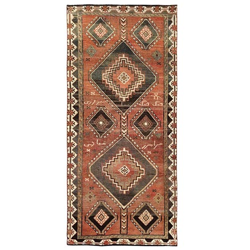 Vintage and Worn Down Persian Shiraz Large Elements Wide Runner Hand Knotted Oriental