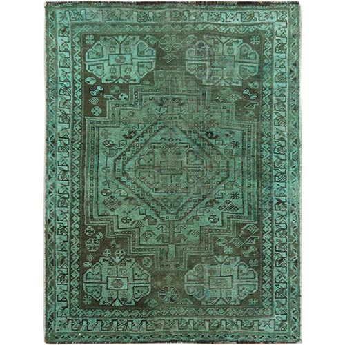 Overdyed Green Persian Qashqai Sheared Low Hand Knotted Oriental