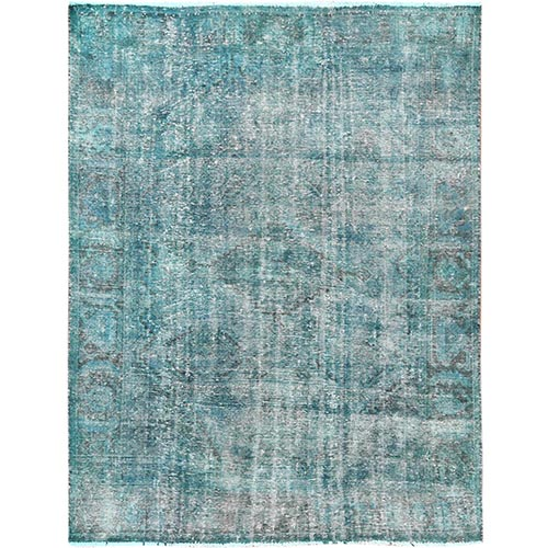 Overdyed Teal Persian Qashqai Cropped Thin Hand Knotted Clean Oriental