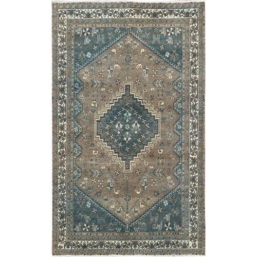 Gray Old Persian Shiraz Cropped Thin Clean Hand Knotted Oriental