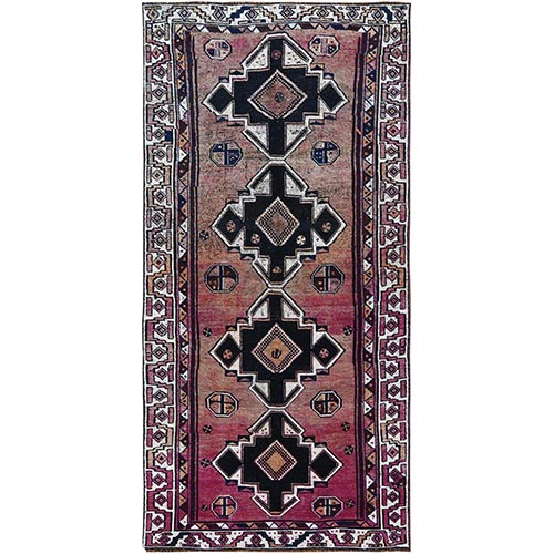 Pink Faded Out Vintage Wide Runner Persian Shiraz Sheared Low Geometric Design Clean Hand Knotted Oriental