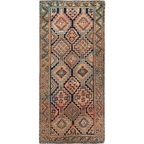 Brown Persian Shiraz Geometric Design Worn Down Wide Runner Clean Hand Knotted Oriental