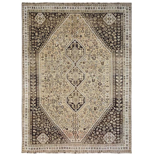 Old Hand Knotted Beige Persian Qashqai Bohemian Sheared Low Natural Wool Clean Oriental