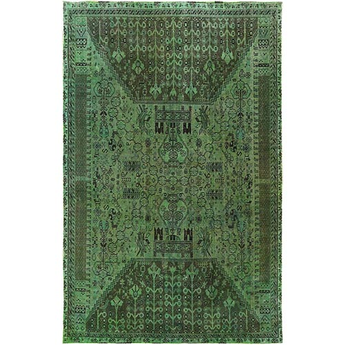 Semi Antique Green Persian Qashqai Bohemian Cropped Thin Clean Natural Wool Hand Knotted Oriental