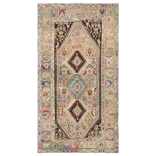Colorful Persian Qashqai Hand Knotted Natural Wool Sheared Low Vintage Bohemian Clean Oriental