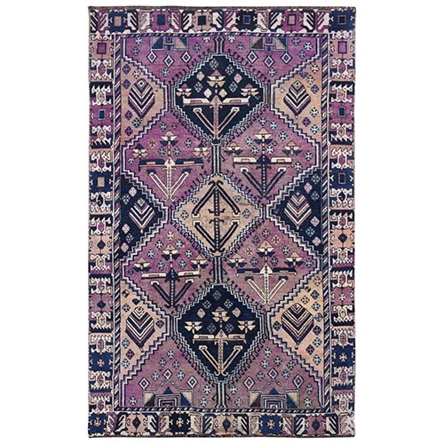 Hand Knotted Purple Persian Shiraz Cropped Thin Bohemian Clean Natural Wool Vintage Oriental