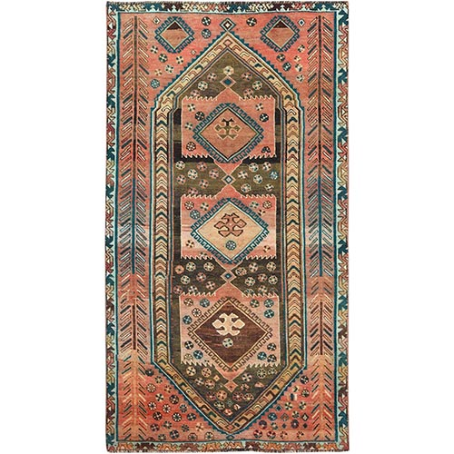Semi Antique Hand Knotted Orange Persian Shiraz Distressed Bohemian Clean Pure Wool Gallery Size Runner Oriental