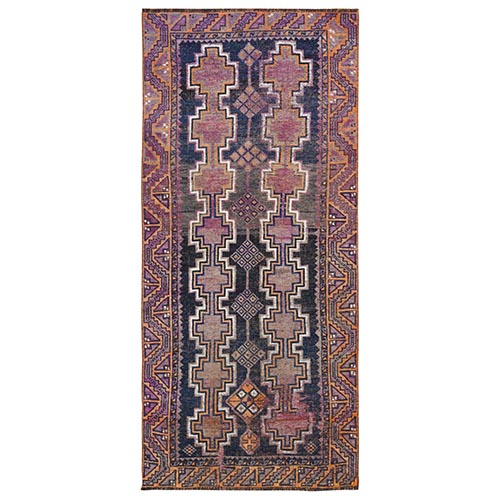 Hand Knotted Navy Blue Persian Shiraz Vintage Worn Down Clean Pure Wool Bohemian Oriental Gallery Size Runner