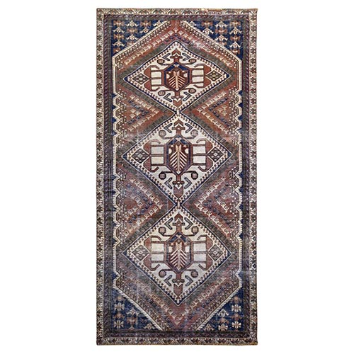 Rust Orange Persian Shiraz Bohemian Natural Wool Old Distressed Clean Hand Knotted Gallery Size Runner Oriental