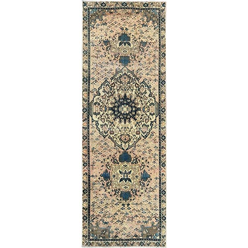 Pure Wool Persian Qashqai Beige Semi Antique Sheared Low Clean Bohemian Hand Knotted Oriental Runner