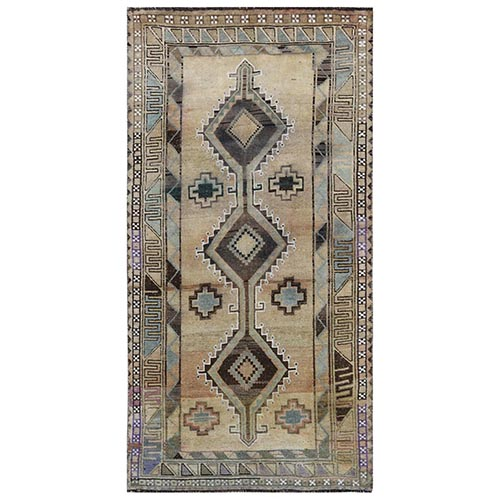 Semi Antique Beige Persian Qashqai Hand Knotted Cropped Thin Clean Bohemian Natural Wool Oriental