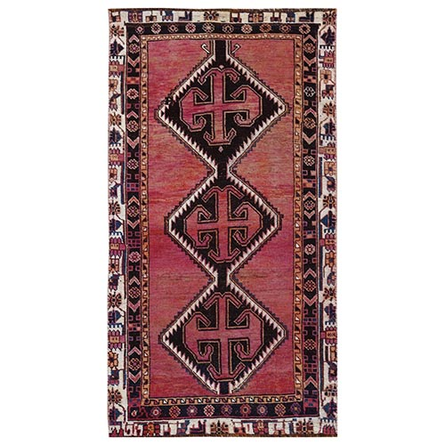 Bohemian Red Persian Shiraz Vintage Worn Down Clean Organic Wool Hand Knotted Oriental Gallery Size Runner