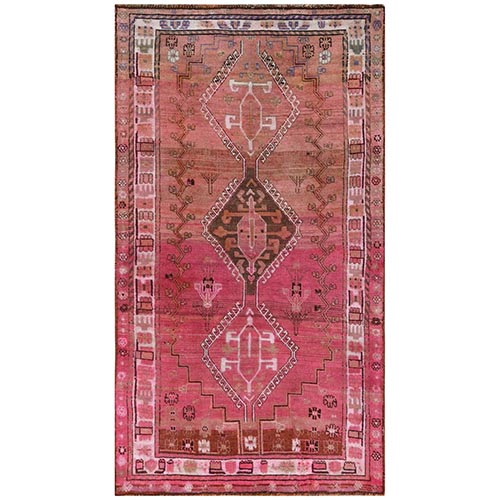 Bohemian Pink Persian Qashqai Old Sheared Low Clean Pure Wool Hand Knotted Oriental Gallery Size