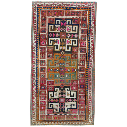 Bohemian Persian Qashqai Red Natural Wool Clean Old Cropped Thin Hand Knotted Oriental Gallery Size
